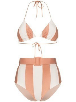 Adriana Degreas Porto striped belted waist bikini set - Pink