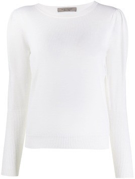 D.Exterior ribbed cuff knit jumper - White