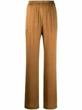 Nude high-waisted wide-leg trousers - Brown