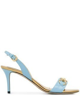 Emilio Pucci Chain Embellished Patent Leather Slingback Sandals - Blue