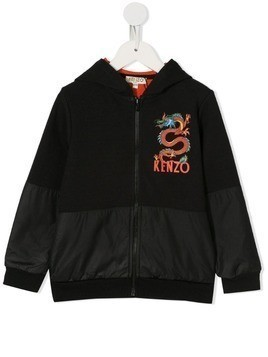 Kenzo Kids Gorky Japanese dragon zip front hoodie - Black
