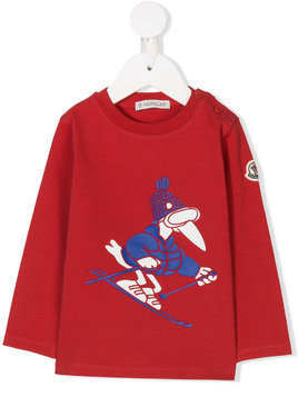 Moncler Kids skiing bird print T-shirt - Red