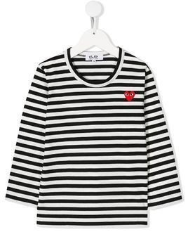 Comme Des Garçons Play Kids striped logo top - White