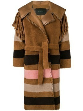 Blancha striped patterned loose coat - Brown