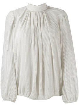 Indress high-neck pleated blouse - NEUTRALS