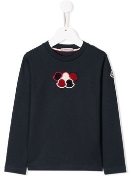 Moncler Kids embroidered logo sweater - Blue