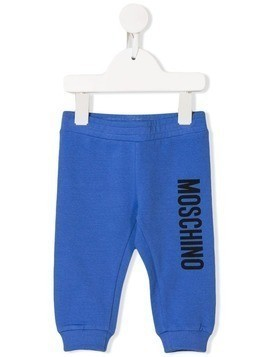 Moschino Kids logo print track trousers - Blue