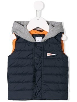 Boss Kids layered-style hooded gilet - Blue