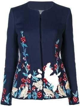 Oscar de la Renta embroidered fitted jacket - Blue