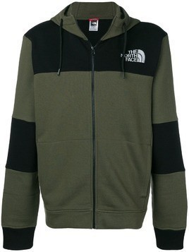 The North Face logo colour block hoodie - Green