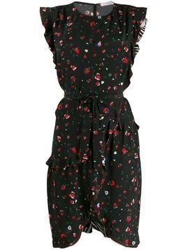 Derek Lam 10 Crosby Lyra Belted Splatter Floral Ruffle Dress - BLK BLACK