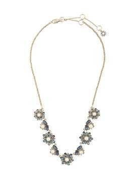 Marchesa Notte embellished flower necklace - Blue