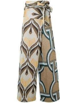 Circus Hotel tapestry wrap palazzo pants - Gold