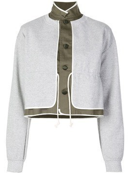 Harvey Faircloth contrast layer effect button-up sweatshirt - Grey