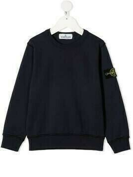 Stone Island Junior fine-knit logo-patch jumper - Blue