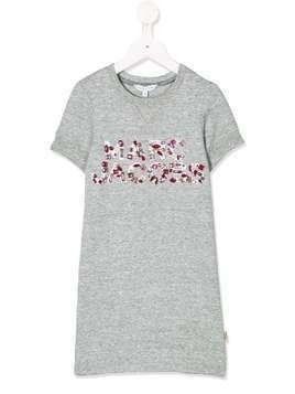The Marc Jacobs Kids gemstone logo embellished T-shirt dress - Grey