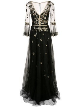 Marchesa Notte floral embroidery gown - Black