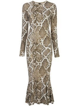 Norma Kamali Scale Python fishtail dress - White
