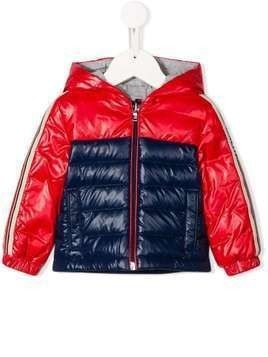 Moncler Kids bi-colour quilted down coat - Red