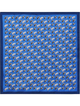 Burberry Taxi Print Silk Pocket Square - Blue