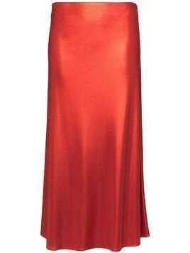 Galvan Mars silk midi skirt - Red