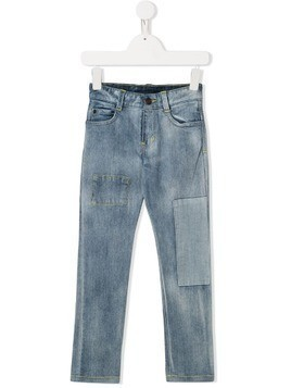 The Marc Jacobs Kids bleached patchwork jeans - Blue