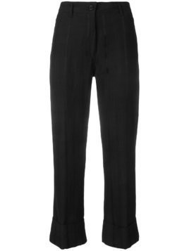 Ann Demeulemeester cropped high-rise flared trousers - Black