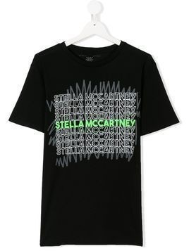 Stella Mccartney Kids TEEN logo printed T-shirt - Black