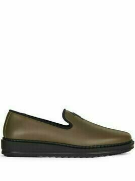 Giuseppe Zanotti slip-on leather slippers with logo detail - Brown