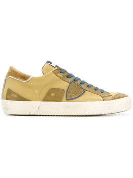 Philippe Model - distressed logo sneakers - Herren - Cotton/Leather/rubber - 39 - Yellow & Orange
