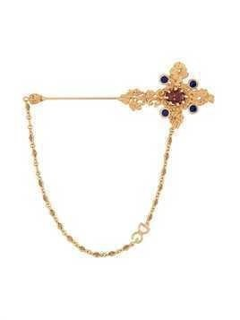 Dolce & Gabbana embellished cross brooch - Metallic
