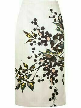 Rochas floral print pencil skirt - White