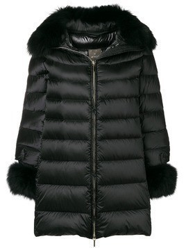 Hetregò fur trimmed coat - Black