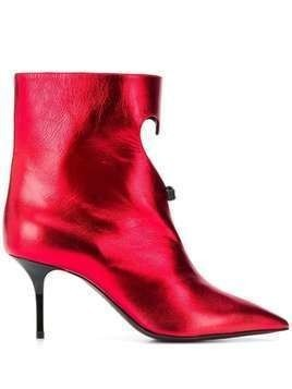 MSGM heart cut-out metallic boots - Red