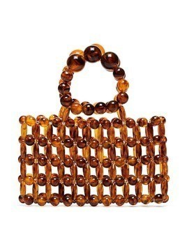 Cult Gaia Cora beaded tote bag - Brown