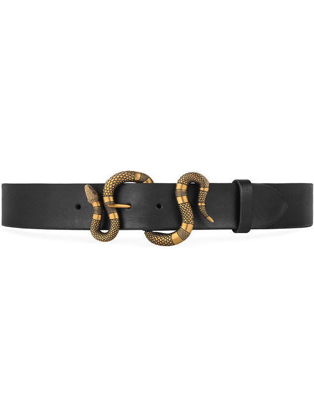 9a13695a612 Gucci Leather belt with snake buckle - Black - Sellektor.com - Paski