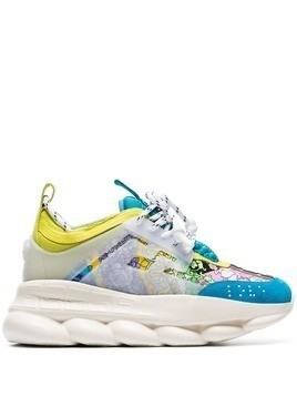 Versace multicoloured Chain Reaction leather sneakers - Blue