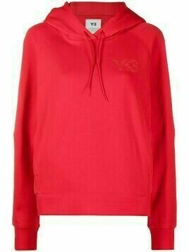 Y-3 logo-print cotton hoodie - Red