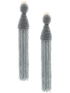 Oscar de la Renta beaded tassel drop earrings - Grey
