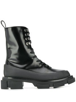 Both ridged sole lace-up boots - Black