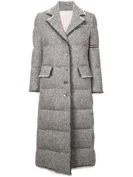 Thom Browne frayed quilted overcoat - Grey