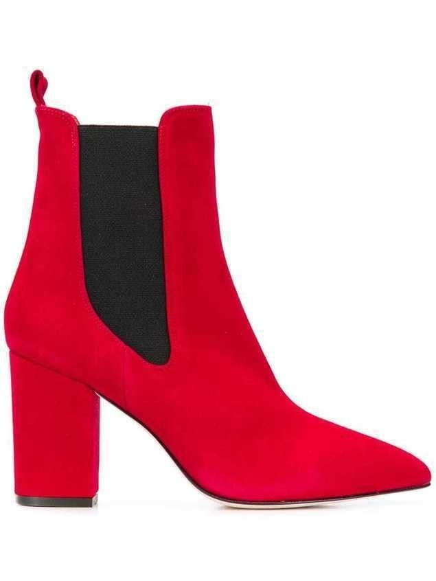 Paris Texas block heel ankle boots - Red