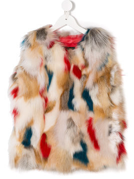John Richmond Kids fox fur gilet - Nude & Neutrals