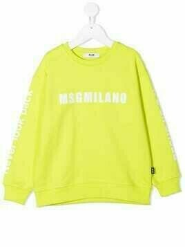 Msgm Kids cotton printed-sleeve sweatshirt - Green