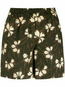 P.A.R.O.S.H. floral-print high-waist shorts - Brown