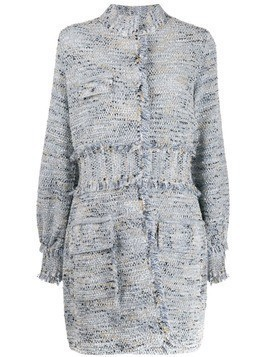 20:52 high-neck tweed coat - Blue
