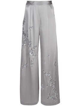 Josie Natori Couture beaded wide leg trousers - SILVER