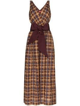 Staud plaid sleeveless wide leg jumpsuit - Brown