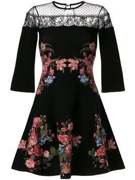 Ingie Paris floral flared mini dress - Black