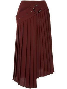 AKIRA NAKA asymmetric pleated skirt - Red